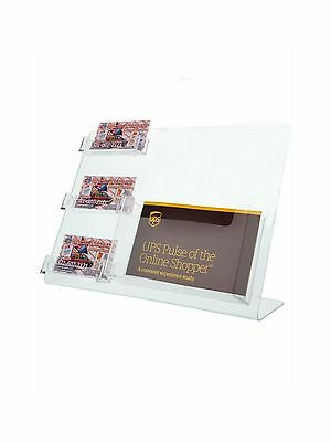 Counter Top Literature Holder 3 Pockets Business Cards & 1 Pocket for Post Cards