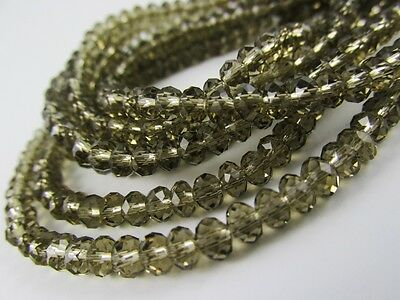 Rondelle faceted glass smoky quartz beads crystal loose jewerly 4mm 6mm 8mm C24