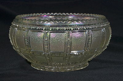 1920's #710 FROSTED BLOCK Imperial IRIDESCENT WHITE Large Lilly / Rose Bowl EUC