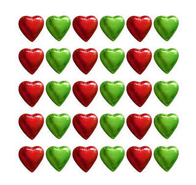 100 Cadbury Chocolate Red And Lime Green Hearts-Wedding Christmas Gifts Parties