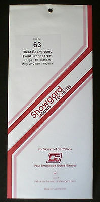 Showgard Stamp Mounts Size 63/240 CLEAR Background Pack of 10