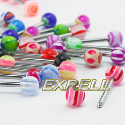 30 MIXED Tongue Ring Tounge Different BARBELL BAR BODY ga5b