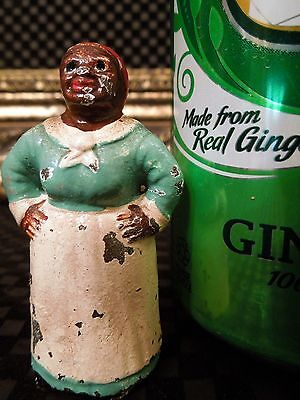 Antique Black Americana Green Mammy Cast Iron Hubley Paperweight Party Favor Toy