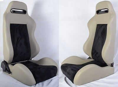 New 2 Gray & Black Racing Seats Reclinable + Sliders All Pontiac *