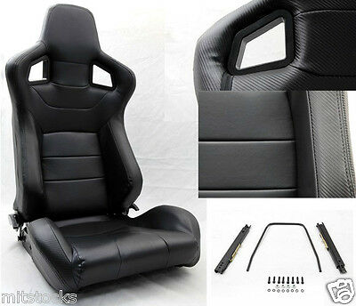 2 Black Pvc Leather Carbon Look Trim Racing Seat Reclinable + Sliders Pontiac *