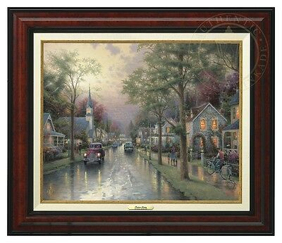 Thomas Kinkade Hometown Morning 12 x 16 Canvas Classic (Burl Frame)