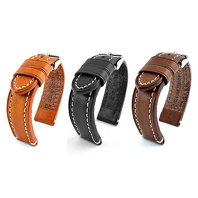 22mm QUALITY Echt Leder ARMBAND Watch STRAP robust BAND Catalonia black / brown