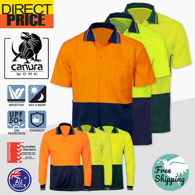 Hi Vis Polo Shirt Short Long Sleeve Workwear Safety Contrast Cool Dry
