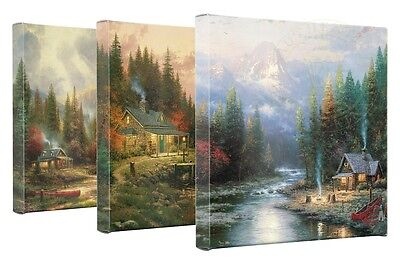 Thomas Kinkade End Of A Perfect Day Set of 3 14 x 14 Gallery Wrapped Canvas