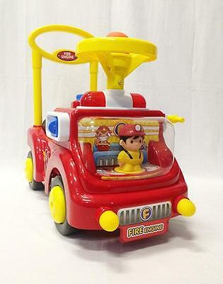BR NEW Kids Children Fire Engine Truck Ride On Car Push Walker Great Gift RD