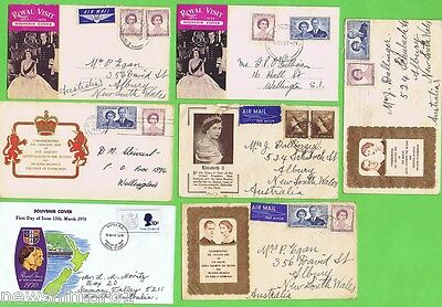 #d115.  Seven Stamped Envelopes From Queen Elizabeth Ii Nz Visits