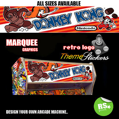 Arcade Marquee Stickers Graphic / Laminated All Sizes Designs Donkey Kong + More