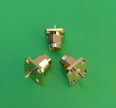 (2 PCS) SMA  Male Chassis Connector 4-Hole Panel Mount - USA Seller