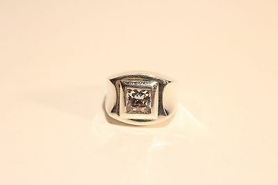 VINTAGE RARE NICE HAND MADE STERLING SILVER 925 MEN'S RING WITH ZIRCON STONE