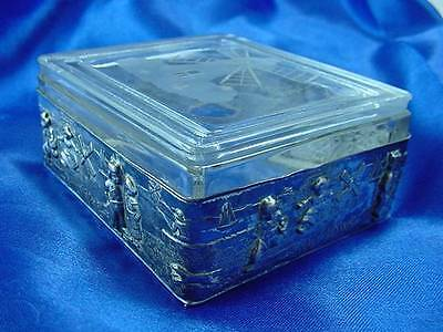 Antique Silverplate Windmill Cut Intaglio Glass Box Delft Scene Children Dog