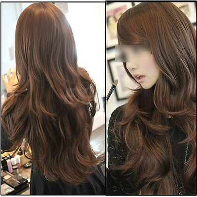 65cm Light Brown Womens Girls Wavy Curly Long Hair Wigs Cosplay Fashion Style