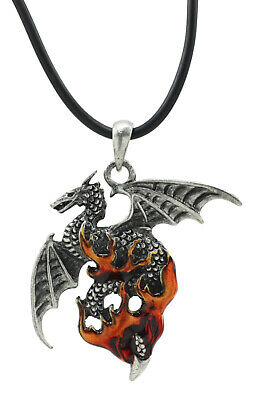 Ancient Flame Dragon Lead Free Mystica Pendant Necklace Fashion Jewelry