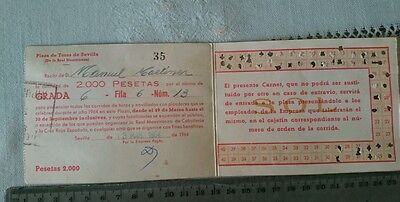 BULLFIGHT TICKET: BULL RING of SEVILLA SUBSCRIPTION YEAR 1964 Ref:0002