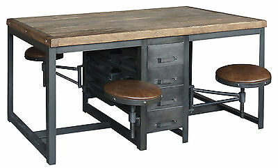 """70"""" L Work table Industrial Iron Desk elm wood Leather Covered Adjustable seats"""