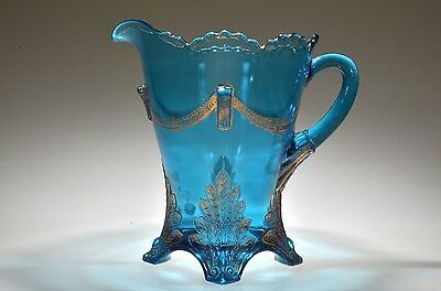 RARE 1903 SWAG WITH BRACKETS by Jefferson BLUE w/GOLD TRIM Handled Water Pitcher