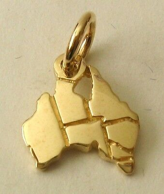 SOLID 9K 9ct Yellow GOLD AUSTRALIA MAP Charm/Pendant