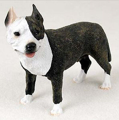 PIT BULL TERRIER DOG BRINDLE Figurine Statue Hand Painted Resin Gift Pet Pitbull