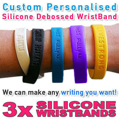 Bar - Personalised Wristband Silicone Debossed - Create your own