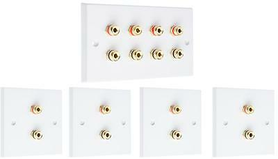 Complete 4.0 SOLDER-LESS Speaker / Surround Sound Audio Wall Face Plate kit