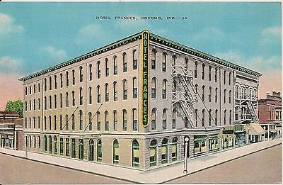 Hotel Frances Kokomo IN Postcard