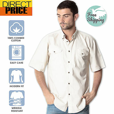 Mens Short Sleeve Casual Business Shirts Button Down Double Pocket Flap Cotton