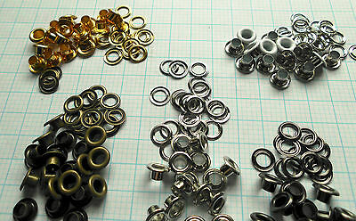 Eyelets-w-washer 4.5mm ID, 9mm flange 4.5mm high for shoes, bags-5 cols Qty 100