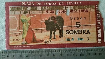 BULLFIGHT TICKET: BULL RING of SEVILLA 4 SEPTEMBER 1966 Ref:0038