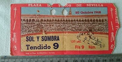 BULLFIGHT TICKET: BULL RING of SEVILLA 20 OCTOBER 1968 Ref:0044