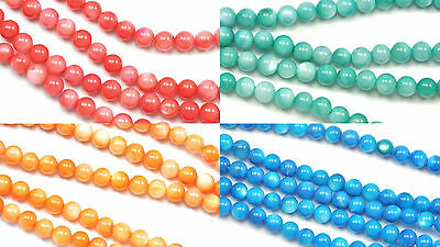 5 mm Round Mother of Pearl Shell Loose Beads for Jewellery Making - 1 String