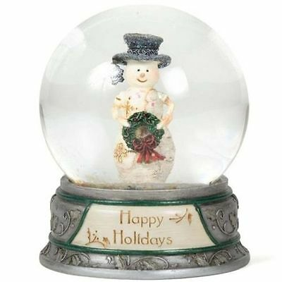 Birch Hearts Snowmen-Happy Holidays-Globe-New-Boxed-81020