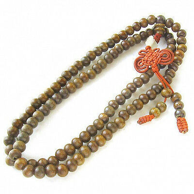 Fragrant Lucky Silk Knot 108 6mm Green Sandalwood Prayer Beads Mala Necklace 24""