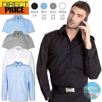 Security Casual Bus Taxi Driver Pilot Epaulette Shirt Long Short Sleeve Business