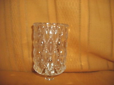 LARGE DIAMOND QUILT PEGGED CRYSTAL VOTIVE  VTG HOME INTERIOR VOTIVE CUP CANDLE H