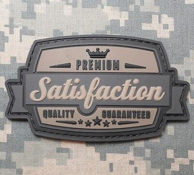 SATISFACTION 3D PVC TACTICAL MILITARY BADGE US ARMY MORALE ACU DARK VELCRO PATCH