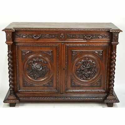 Antique Carved Oak French Louis XIII / Hunt style Buffet Barley Twist Fruits