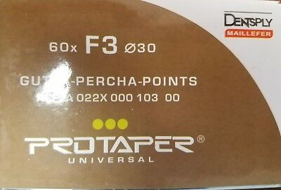 Protaper Universal F3 Gutta Percha Points Dentsply Tulsa Box of 60 Dental Endo