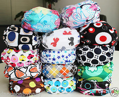 AIO Washable R-usable Baby Pocket Cloth Diaper Hip Snaps Nappy Covers & Inserts