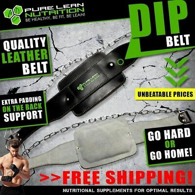 Leather Dip Weight Lifting Gym Belt Pull Up Chin Up Dipping Bodybuilding Workout