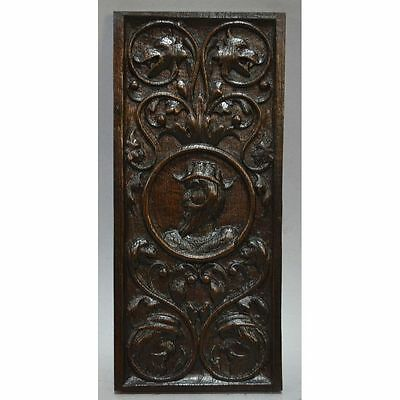 Antique 17Th C Carved Oak Architectural Salvaged Central Figure Panel