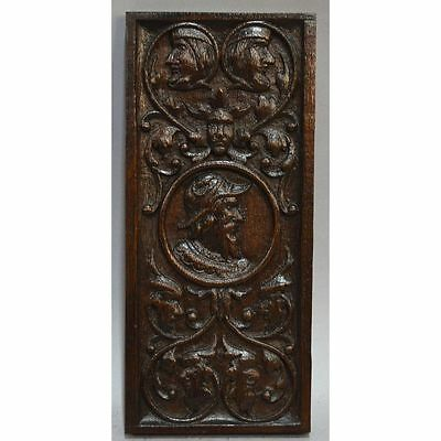 Antique 17th century English Carved Oak Figural Panel Nobleman