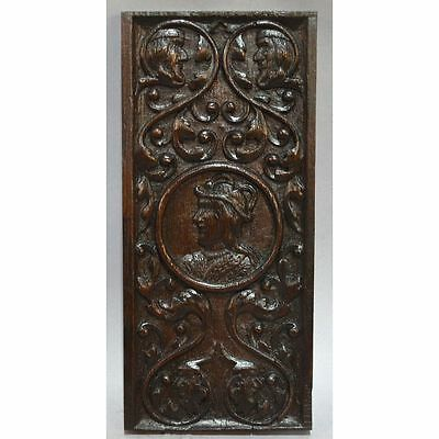 Antique 18th c. Carved Oak English Central Medalion of Jester Panel