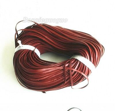 Genuine Leather Cord, Cow Leather Lace 3x1mm wine red color