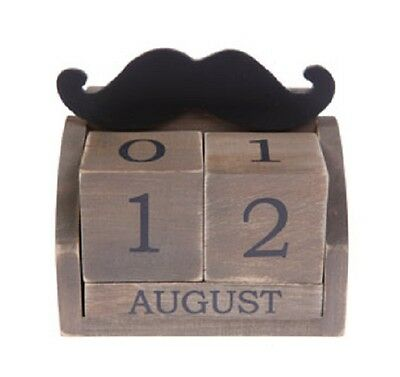 Wooden Moustache Perpetual Block Calender Shabby Chic Gift Movember Letter Rack