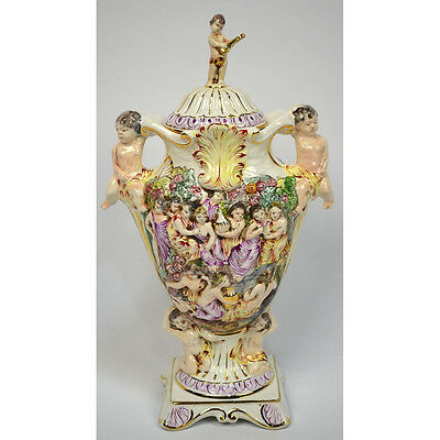 VINTAGE HAND PAINTED MYTHOLOGICAL CAPODIMONTE VASE CHERUBS & WOMAN