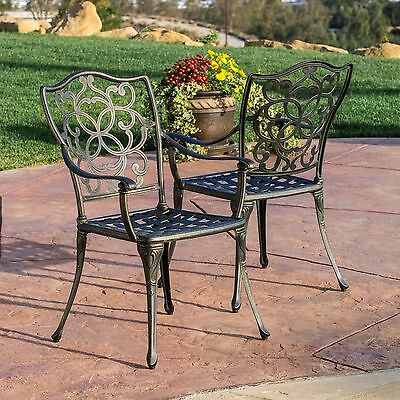 Outdoor Patio Furniture Cast Aluminum Dining Chairs In Black and Gold